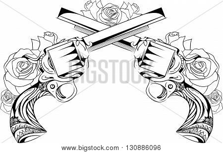 Vector vintage illustration of two revolvers with roses. Duel. Design tattoos postcard.