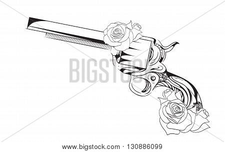Vector vintage illustration of revolver with roses. Vector vintage element for tattoo design printed on a T-shirt postcard and your creativity