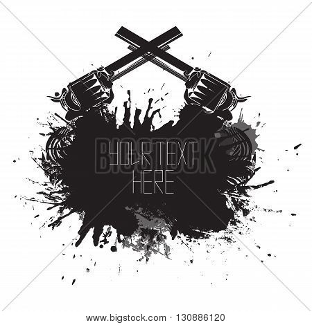 Template cover with splashes abrasions and two vintage revolvers. Vector element for your business