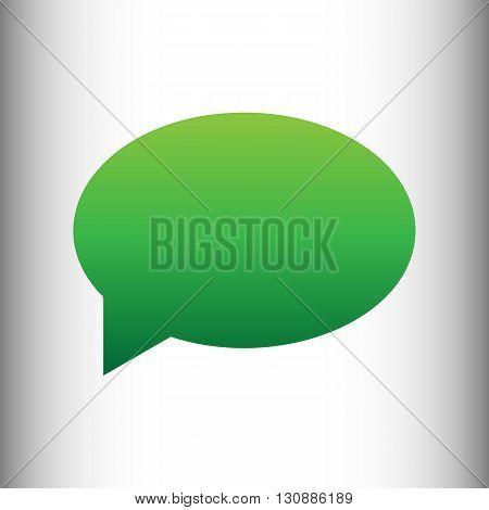 Speech bubble icon. Green gradient icon on gray gradient backround.