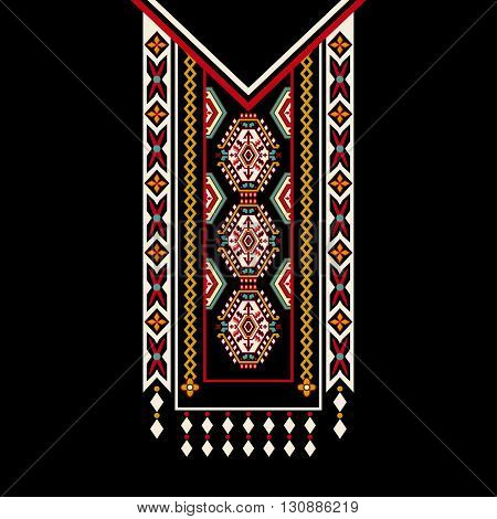 Vector design for collar shirts, shirts, blouses. Colorful ornamental ethnic design