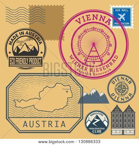 Grunge rubber stamp set with words Vienna, Austria, inside vector illustration