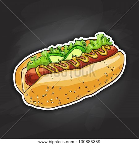 simple hot dog with ketchup and mustard and salad image isolated on a black background