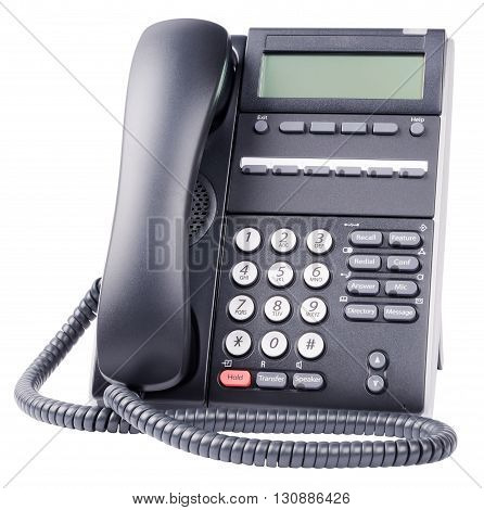 Digital telephone set with LCD isolated on the white background