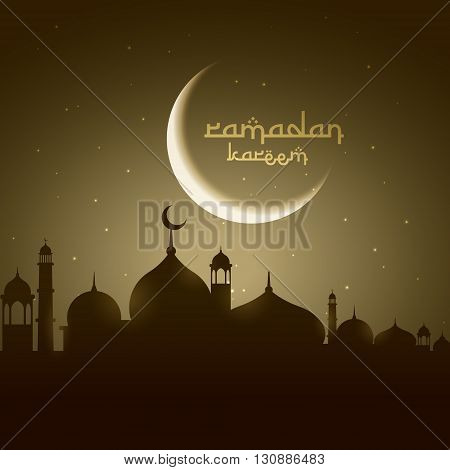 masjid silhouette with moon vector design illustration