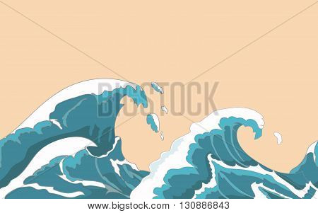 Ocean big wave seamless in Japanese style. Water splash, storm , weather nature.  Hand drawn  vector illustration