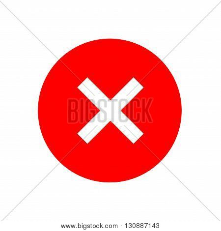 Cross sign element. Red X icon isolated on white background. Simple mark graphic design. Round shape button for vote decision web. Symbol of error check wrong and stop failed. Vector illustration