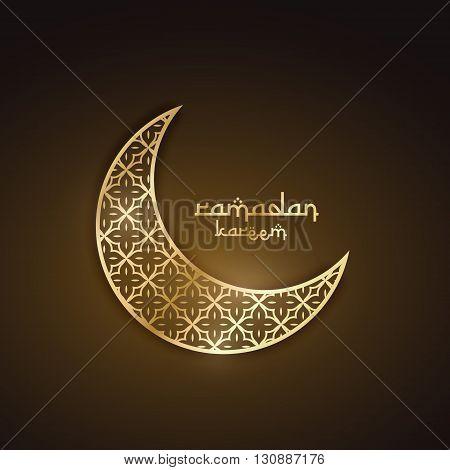 creative golden moon with abstract pattern ramadan festival design