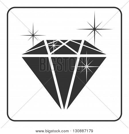 Diamond icon with glitter. Shiny crystal sign. Brilliant stone. Black silhouette isolated on white background. Flat fashion design element. Symbol gift jewel gem or royal rich. Vector Illustration.