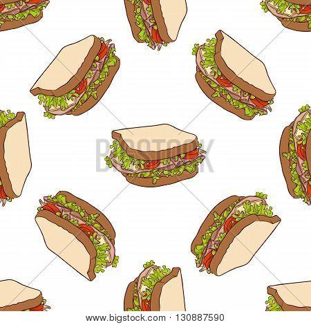 Seamless pattern color sandwich. Vector illustration, EPS 10