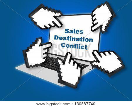 Sales Destination Conflict Business Concept