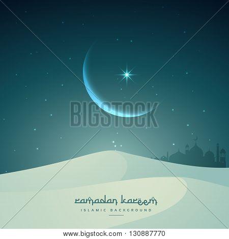 ramadan kareem islamic festival with moon and sand dunes