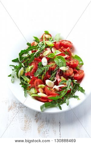 Cherry Tomato and Arugula Salad with Spring Onion