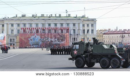 St. Petersburg, Russia - 9 May, The war machine and the troops before the parade, 9 May, 2016. Festive military parade on the Palace Square in St. Petersburg.