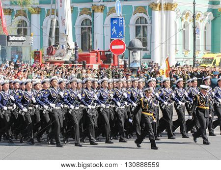 St. Petersburg, Russia - 9 May, Division sailors with Kalashnikovs, 9 May, 2016. Festive military parade on the Palace Square in St. Petersburg.