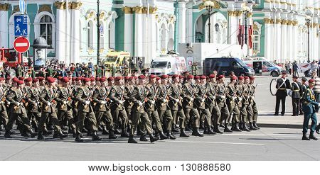 St. Petersburg, Russia - 9 May, Division soldiers in crimson berets, 9 May, 2016. Festive military parade on the Palace Square in St. Petersburg.