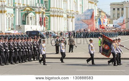 St. Petersburg, Russia - 9 May, Military Parade at the Palace Square, 9 May,  2016. Festive military parade on the Palace Square in St. Petersburg.