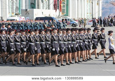 St. Petersburg, Russia - 9 May, Division Military Women in black uniforms, 9 May, 2016. Festive military parade on the Palace Square in St. Petersburg.