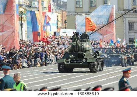 St. Petersburg, Russia - 9 May, T-34 tanks near the festive crowd, 9 May, 2016. Festive military parade on the Palace Square in St. Petersburg.