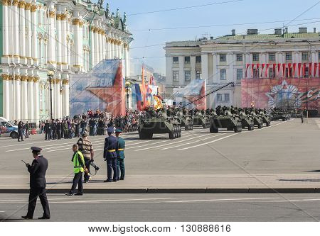 St. Petersburg, Russia - 9 May, Armored infantry division, 9 May, 2016. Festive military parade on the Palace Square in St. Petersburg.