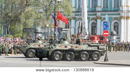St. Petersburg, Russia - 9 May, Armored vehicles on the Victory Day in the city, 9 May, 2016. Festive military parade on the Palace Square in St. Petersburg.