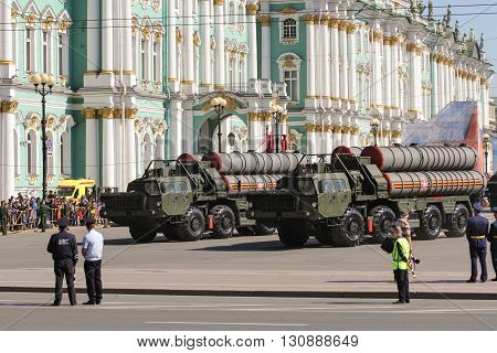 St. Petersburg, Russia - 9 May, Strategic missile systems, 9 May, 2016. Festive military parade on the Palace Square in St. Petersburg.