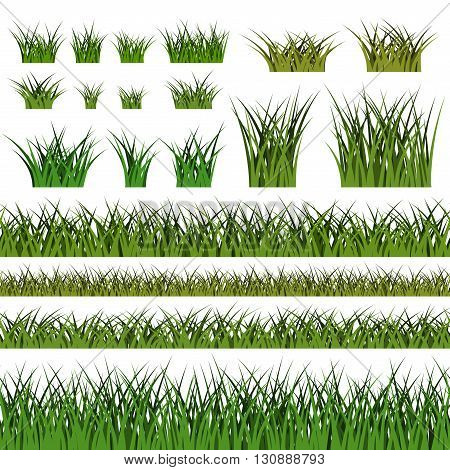Green grass seamless pattern and bushes. Nature background. Horizontal silhouette isolated on white. Symbol of field lawn and meadow fresh summer. Design element environment. Vector illustration