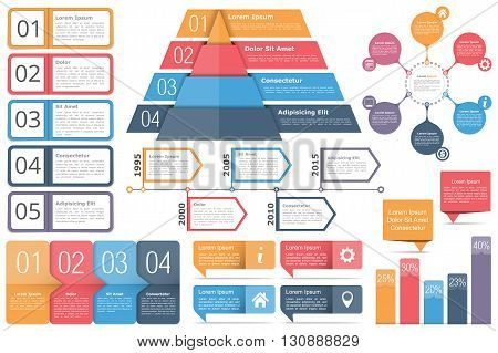 Infographic elements - objects with text, numbers and icons, timeline, circle diagram, pyramid, bar graph, vector eps10 illustration