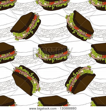 Seamless pattern sandwich scetch and color. Vector illustration, EPS 10