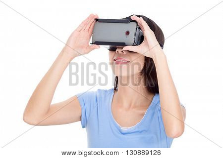 Woman experience with virtual reality devicea