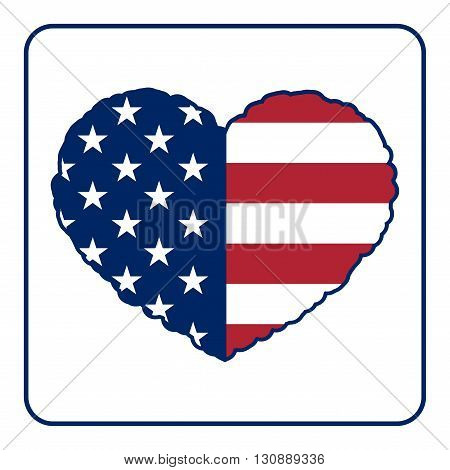 American flag heart shaped icon on white background. USA emblem typography Graphics. National printing design. Patriotic style. Symbol of celebrate Independence Day America unity. Vector illustration