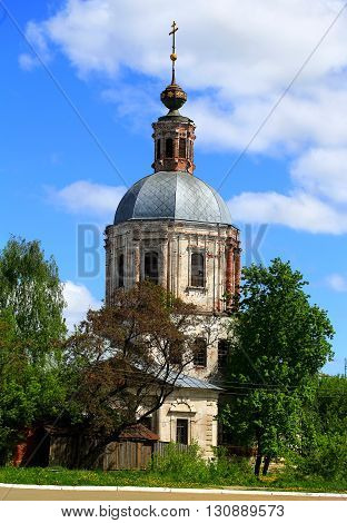 Rural landscape with orthodox church built in the baroque style