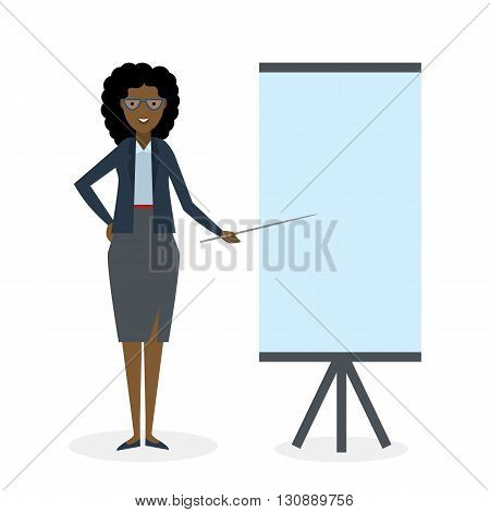 Businesswoman with pointer and easel board on white background. Teacher or businesswoman showing and presenting. African american businesswoman. Office person.