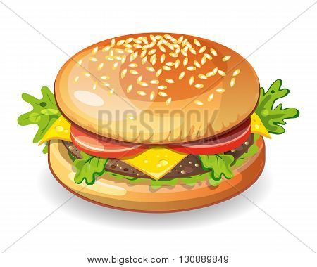 Isolated classic hamburger on white background. Fresh sandwich with beef, lettuce, tomato, bun and cheese. American fast food.
