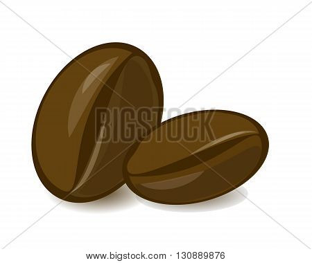 Isolated coffee beans on white background. Natural fresh grain. Arabica, mocha, cappuccino flavor.