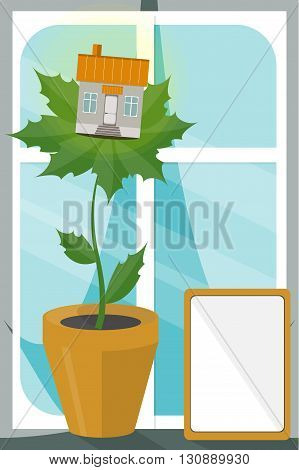 House on leaves. Concept of eco house. Ecological building. Keep clean and organic.