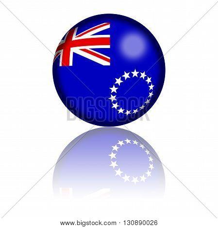 Cook Islands Flag Sphere 3D Rendering