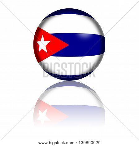 Cuba Flag Sphere 3D Rendering