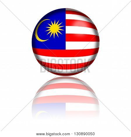 Malaysia Flag Sphere 3D Rendering