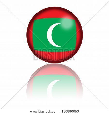 Maldives Flag Sphere 3D Rendering