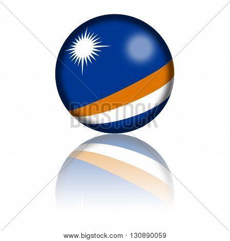 Marshall Islands Flag Sphere 3D Rendering