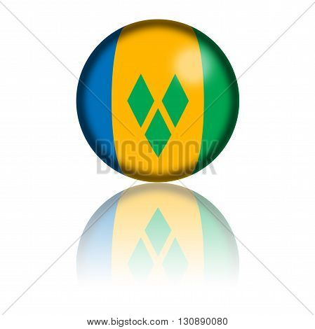Saint Vincent And The Grenadines Flag Sphere 3D Rendering