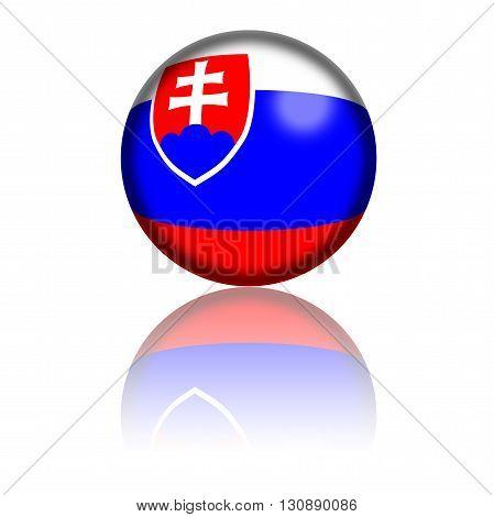 Slovakia Flag Sphere 3D Rendering