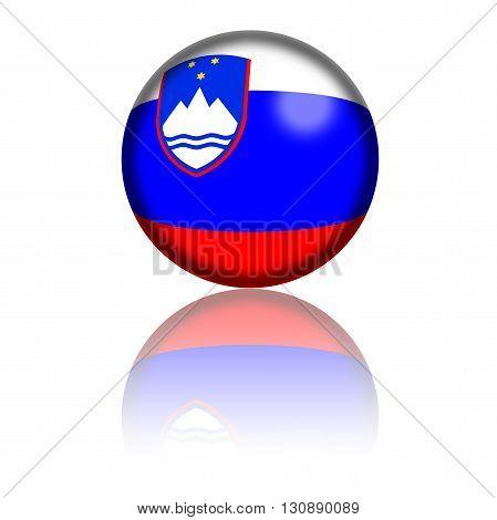 Slovenia Flag Sphere 3D Rendering