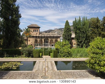 Alhambra patio with pool Granada Spain, splendour
