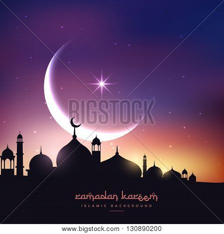 mosque silhouette in night sky with crescent moon and star vector design illustration