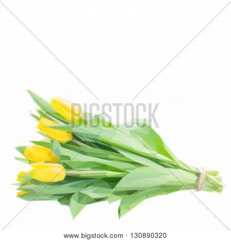 Low poly illustration bunch of yellow tulip flowers