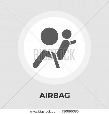Airbag icon vector. Flat icon isolated on the white background. Editable EPS file. Vector illustration.