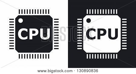 Vector CPU icon. Two-tone version on black and white background