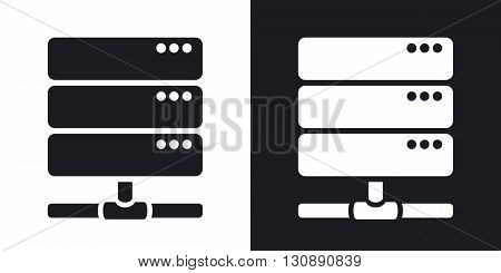 Vector database server icon. Two-tone version on black and white background